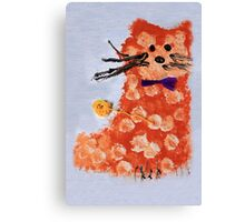 drawing  ginger cat with bow Canvas Print