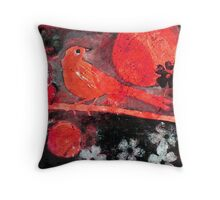 Red Moon Bird Throw Pillow