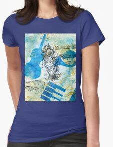 Musical Memories 4 Faux Chine Colle Print  Womens Fitted T-Shirt
