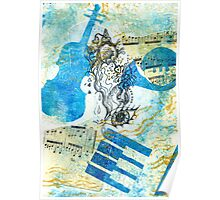 Musical Memories 4 Faux Chine Colle Print  Poster