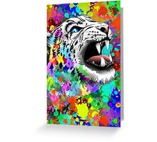 Leopard Psychedelic Paint Splats Greeting Card