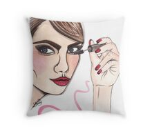 cara delevingne illustration  Throw Pillow