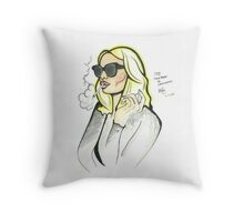 70s chick style illustration  Throw Pillow