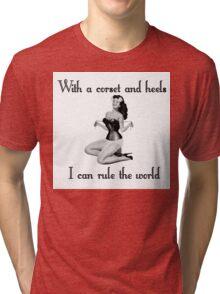pinup glamour corset Tri-blend T-Shirt