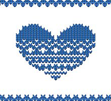 Blue Knitted Look Love Heart Style iPhone / iPad /   Case / Pillow / Tote Bag/ Samsung Galaxy Case by CroDesign