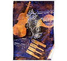 Musical Memories 4 Faux Chine Colle Print Digitized  Poster