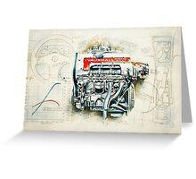 RETRO CUTAWAY ENGINE - ORIGINAL ARTWORK Greeting Card