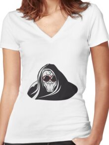 Death hooded evil creepy sunglasses Women's Fitted V-Neck T-Shirt
