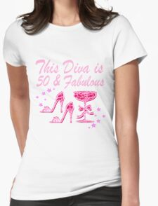 PRETTY PINK 50 AND FABULOUS Womens Fitted T-Shirt