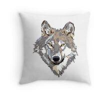 Gray Timber Wolf Throw Pillow