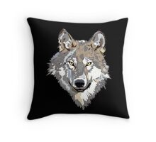 Gray Timber Wolf On Black Throw Pillow