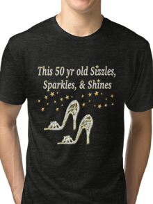 SPARKLING 50TH BIRTHDAY SHOE QUEEN Tri-blend T-Shirt