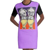 Tweedledum and Tweedledee Pugs Graphic T-Shirt Dress