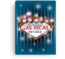 Welcome to fabulous Las Vegas Nevada sign in blue background, vector Canvas Print