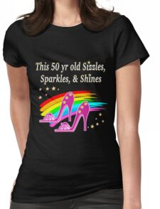 FABULOUS 50TH BIRTHDAY SHOE QUEEN Womens Fitted T-Shirt