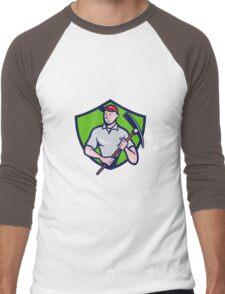 Construction Worker Pickaxe Crest Cartoon Men's Baseball ¾ T-Shirt