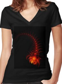 Scorpio - Abstract Fractal Artwork Women's Fitted V-Neck T-Shirt