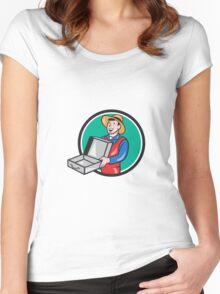 Man Holding Empty Open Suitcase Circle Cartoon Women's Fitted Scoop T-Shirt