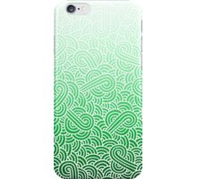 Ombre green and white swirls zentangle iPhone Case/Skin