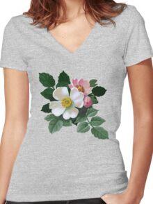 Eglantine - acrylic painting Women's Fitted V-Neck T-Shirt