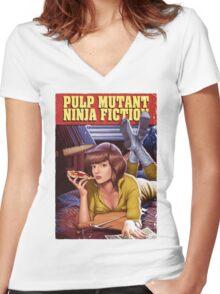 Pulp Mutant Ninja Fiction Women's Fitted V-Neck T-Shirt