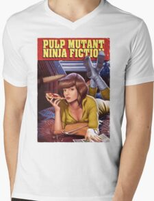 Pulp Mutant Ninja Fiction Mens V-Neck T-Shirt
