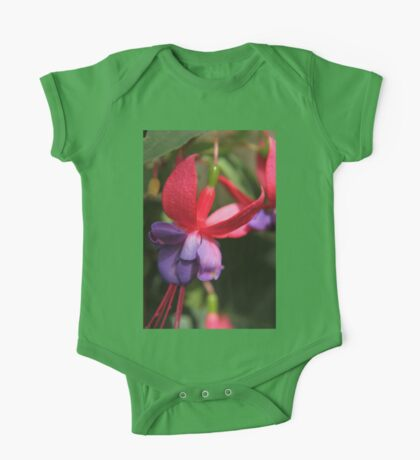 Pink and Purple Droplet Flower One Piece - Short Sleeve
