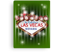 Welcome to fabulous Las Vegas Nevada sign in green background, vector Canvas Print