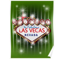 Welcome to fabulous Las Vegas Nevada sign in green background, vector Poster