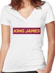 JAMES. Women's Fitted V-Neck T-Shirt