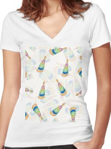 coloured pyramids and spheres pattern in blue, vector Women's Fitted V-Neck T-Shirt