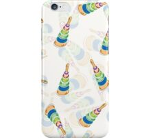 coloured pyramids and spheres pattern in blue, vector iPhone Case/Skin
