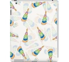 coloured pyramids and spheres pattern in blue, vector iPad Case/Skin