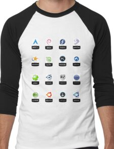 linux distributions set stickers /more Men's Baseball ¾ T-Shirt