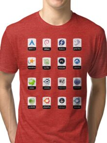 linux distributions set stickers /more Tri-blend T-Shirt