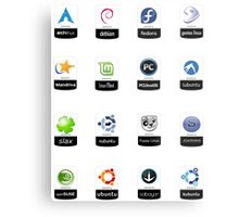 linux distributions set stickers /more Metal Print