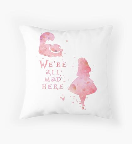 Watercolor pink all mad here Throw Pillow