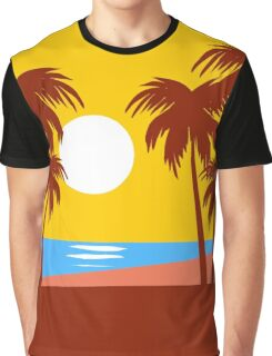 Sun Beach Island Palm Trees Colorful Illustration Graphic T-Shirt