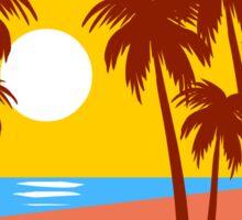 Sun Beach Island Palm Trees Colorful Illustration Sticker