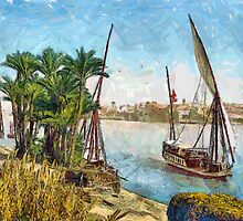 A digital painting of a Sailboat on the Nile at Cairo, Egypt in the 19th century by Dennis Melling