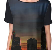 Canadian Skyline At Dusk | Niagara Falls, New York Chiffon Top