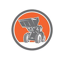 Front End Loader Digger Excavator Circle Retro by patrimonio