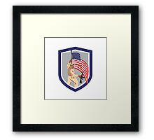 Soldier Military Serviceman Holding Flag Rifle Shield Framed Print