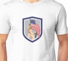 Soldier Military Serviceman Holding Flag Rifle Shield Unisex T-Shirt