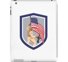 Soldier Military Serviceman Holding Flag Rifle Shield iPad Case/Skin