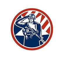 American Soldier Salute Holding Rifle Retro by patrimonio