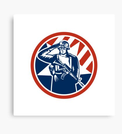 American Soldier Salute Holding Rifle Retro Canvas Print