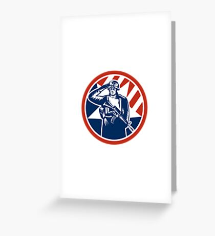 American Soldier Salute Holding Rifle Retro Greeting Card