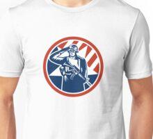 American Soldier Salute Holding Rifle Retro Unisex T-Shirt