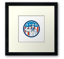 American Soldier Salute Flag Circle Retro Framed Print